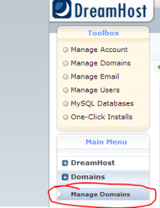 Click Manage Domains